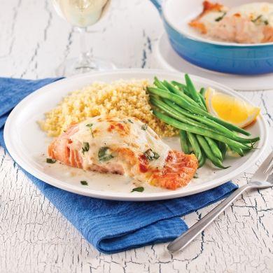Saumon gratiné, sauce aux épinards - Recettes - Cuisine et nutrition - Pratico Pratique