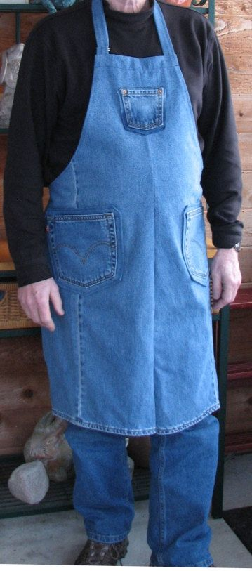 Denim Apron - Upcycled Jeans Apron - Craft Apron - Workshop Apron