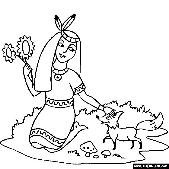 Native American Indian Princess Coloring Page coloring 2