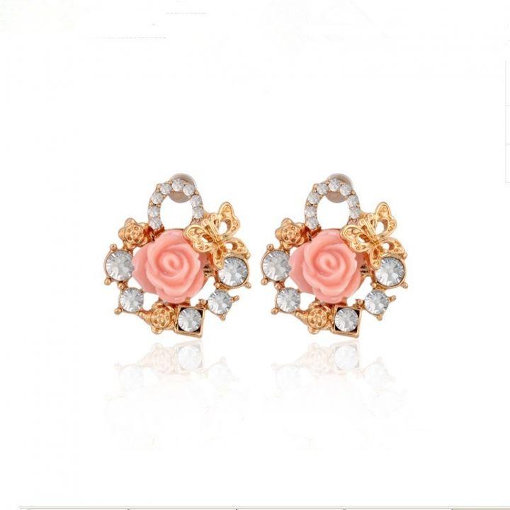 Fashion All-match Alloy Semi-precious Stone Resin Floret Ear Stud