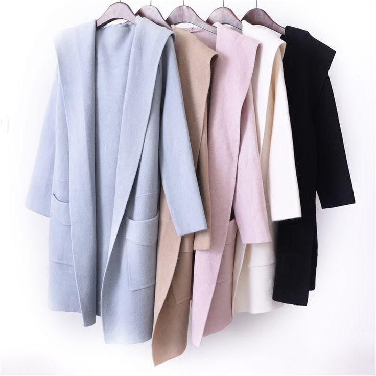 uvtt длинный участок большого размера сплошной цвет кардиган свитер пальто осень 2017 корейских студентов свободно с капюшоном свитер -tmall.com Lynx