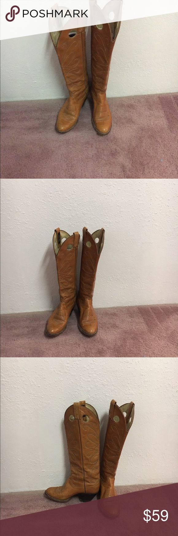 Hand sewn Dan Post boots. All leather . Fabulous boots. Nice light brown leather  Beautiful stitching.  Size 5 C. Fits a 6.5 women's. Vintage beauty. Dan Post Shoes Heeled Boots