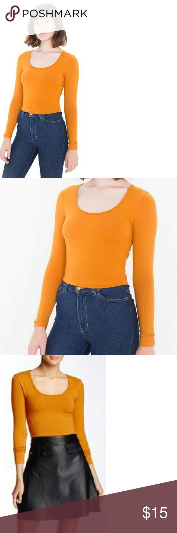American Apparel Reed Crop Top in Ochre Scoop neck crop top from American Apparel in Ochre- the color is NOT as bright as the photos show, it is more of a mustard-y yellow. Cotton/spandex blend, long sleeve, NWOT (never worn, and still in the bag they were shipped in- a lot of American Apparel's items do not come with tags if you order online). Size S and XS available. American Apparel Tops Crop Tops