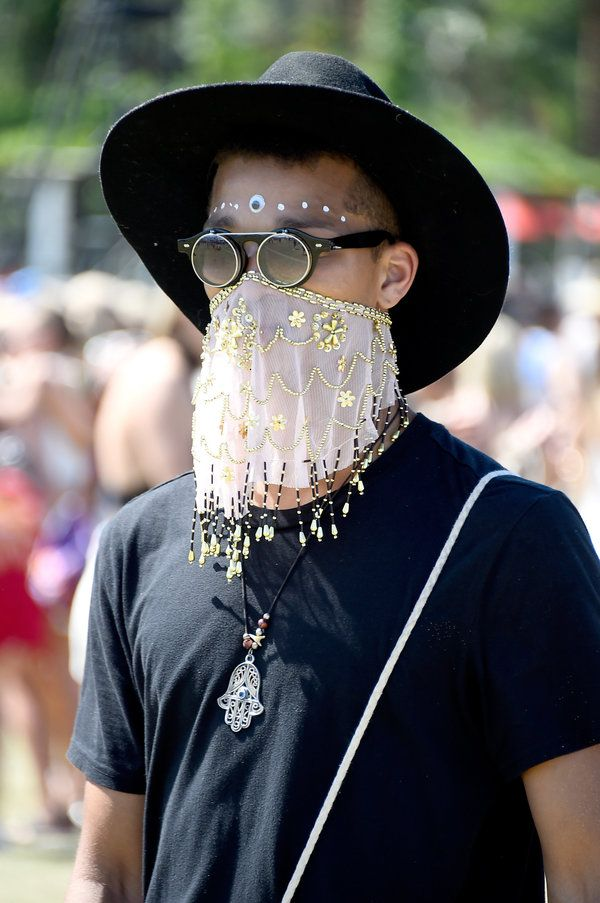 A music fan attends day two of the 2015 Coachella Valley Music And Arts Festival (Weekend two) at The Empire Polo Club on 18 April 2015.