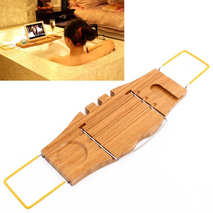 Bamboo Bath Caddy Bathtub Reading Stand Rack Adjustable Wine Book Holder  Tray US