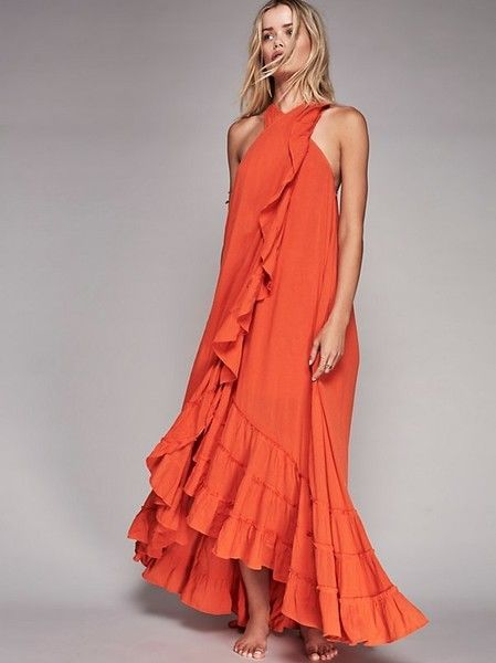 Free People's Coral Wrap-Around Maxi Dress - Boho Dresses for Your Next Beach Vacay - Photos