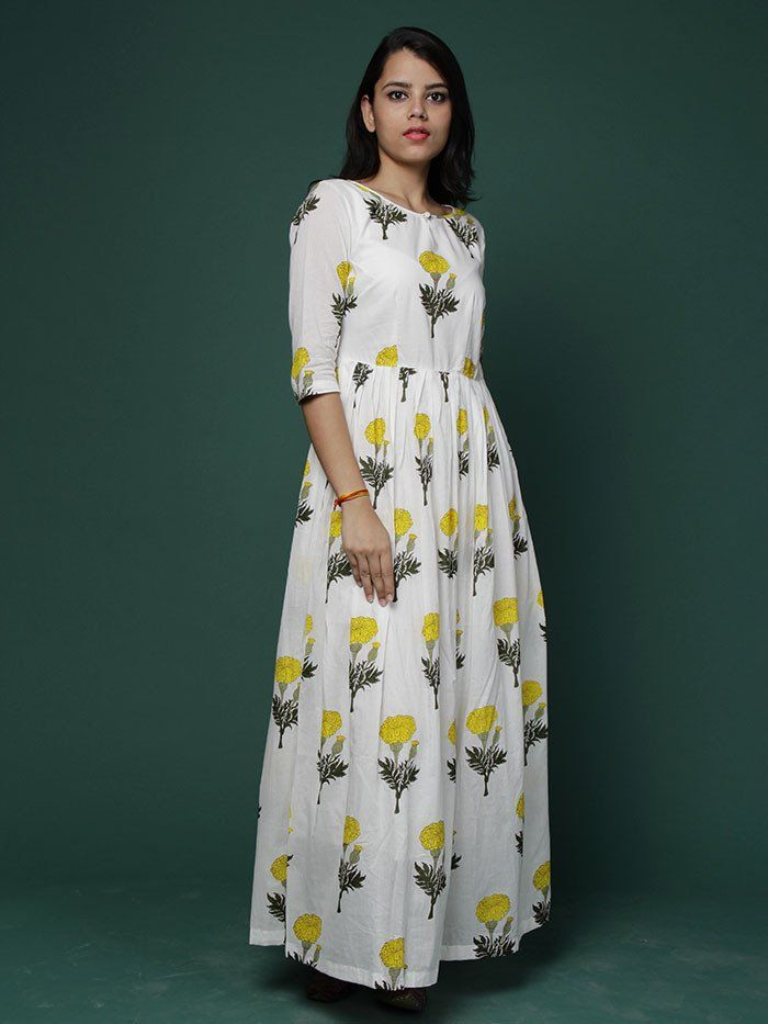 Off White Yellow Block Printed Cotton Maxi Dress