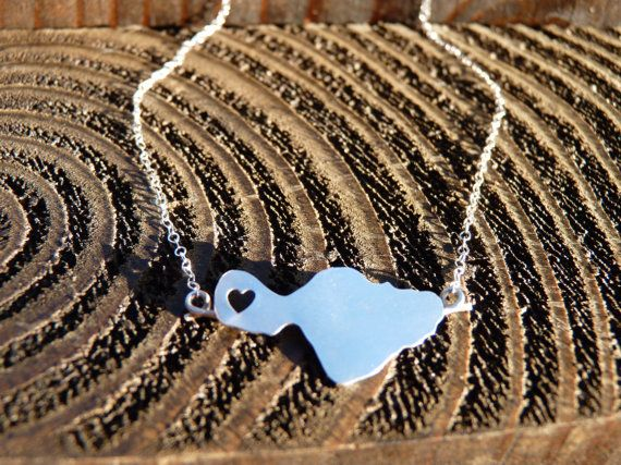 Heart In Lahaina, Maui Sterling Silver Island Necklace by Sparrow Seas - Love the West Side, Maui