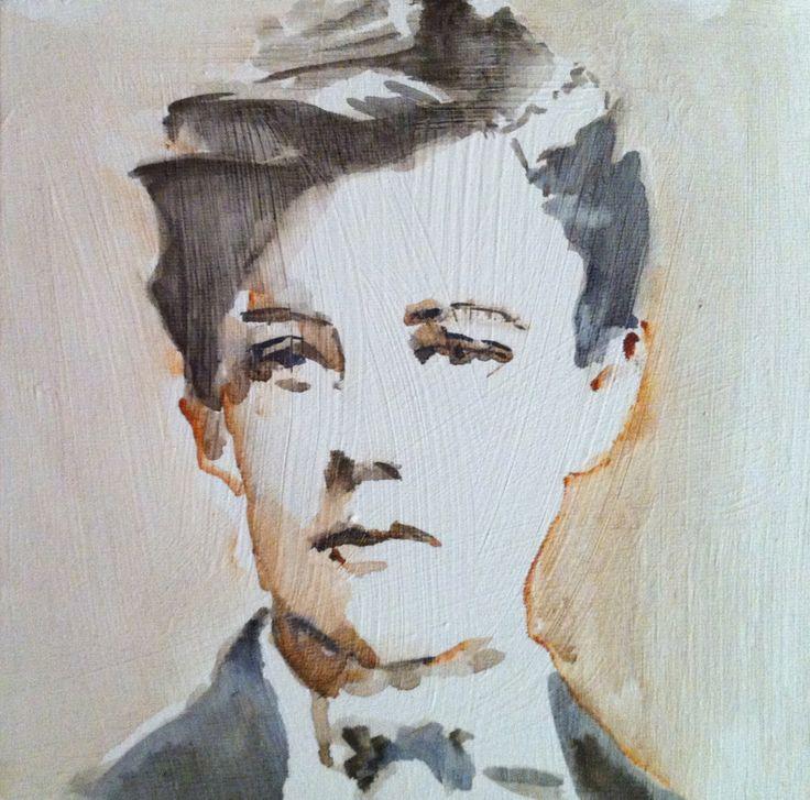 Arthur Rimbaud watercolor on canvas 20x20