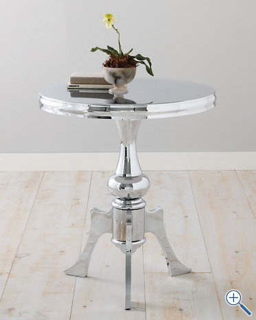 chrome side tableBedrooms Furniture Painting, Side Tables, Chrome Side, Chrome Painting Furniture, Aimee Chrome, Garnet Hills, Painting And Chrome Tables, Aim Chrome, Accent Tables