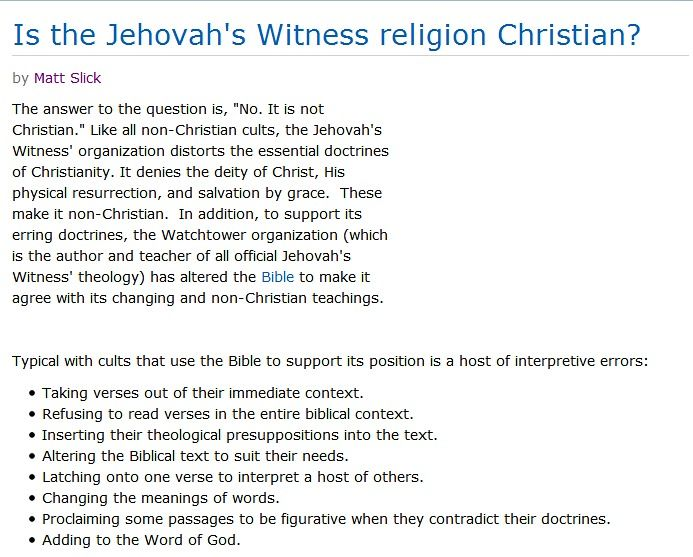 jehovahs witnesses true religion or cult Jehovah's witnesses cult  the jehovah's witnesses are a false cult they appear as true christians  the jehovah's witness religion is charles taze russell.