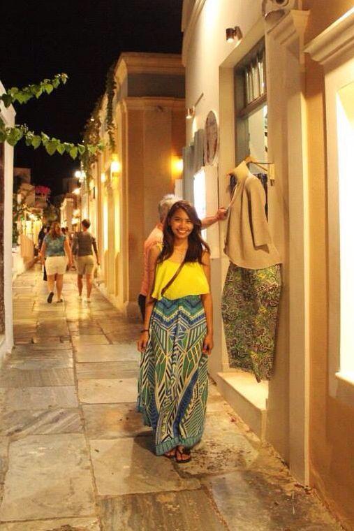 Wearing Aztec print maxi skirt and chiffon spag strap in Santorini..