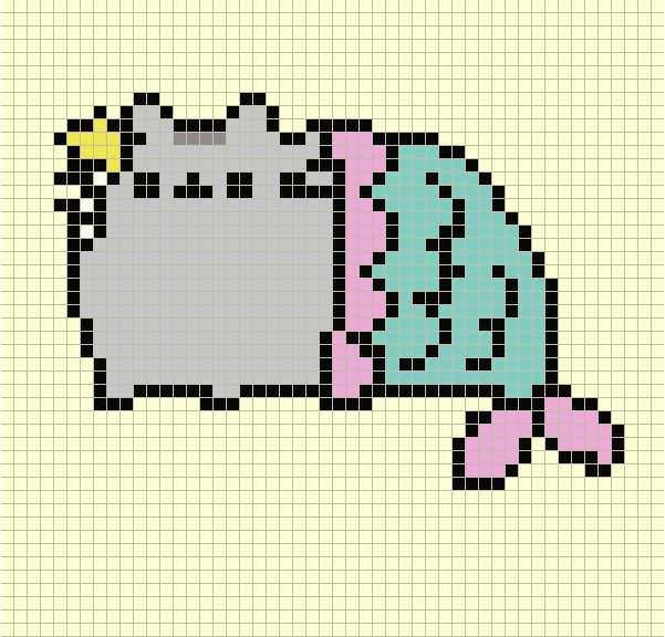 картинки по клеточкам котик пушин так есть