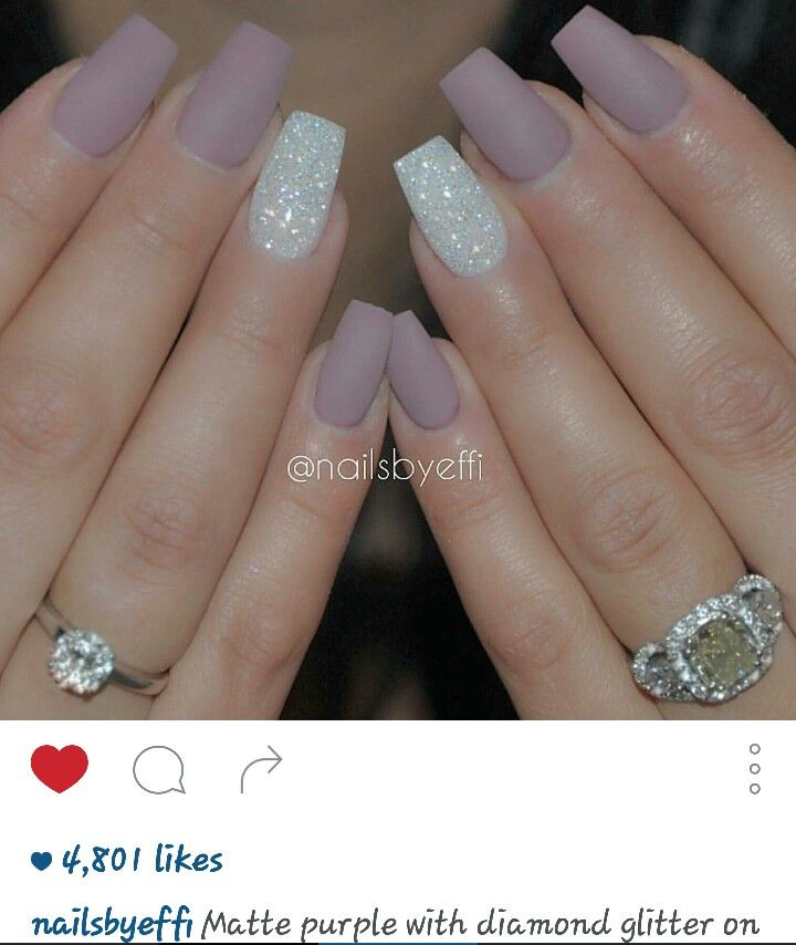Matte purple with diamond glitter on ring finger nails