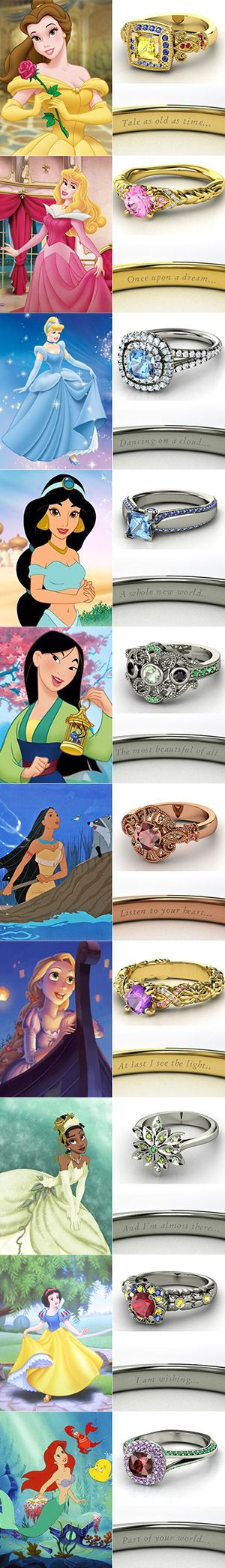 So the criticizing part of me wanted to say how dumb Disney Engagement rings were, but then I had a thought, these are the infamous love stories of our time... just like Romeo & Juliette or Mider & Etain, so this is actually very romantic and deep to get a ring based off your favorite love story.