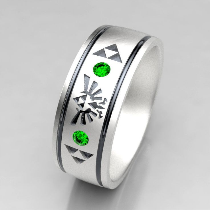 Zelda Wedding Ring, Mens Zelda Silver Wedding Band with Emerald, Size 9 Ring, Size 10 ring, Legend of Zelda Geek Mens Emerald Wedding Ring