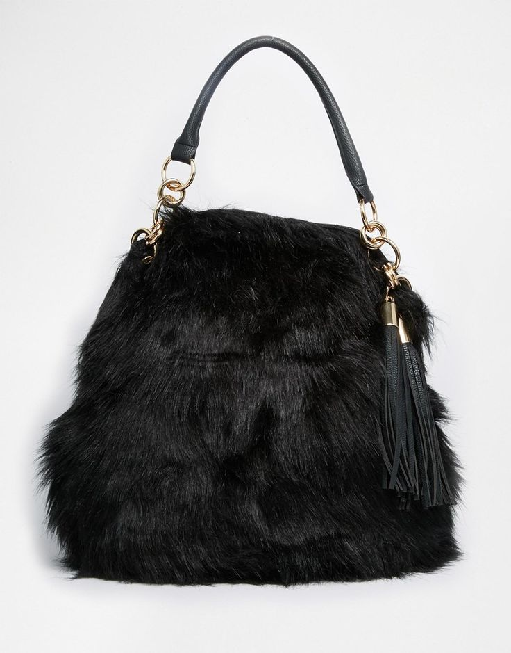 River Island Fur Slouch Bag