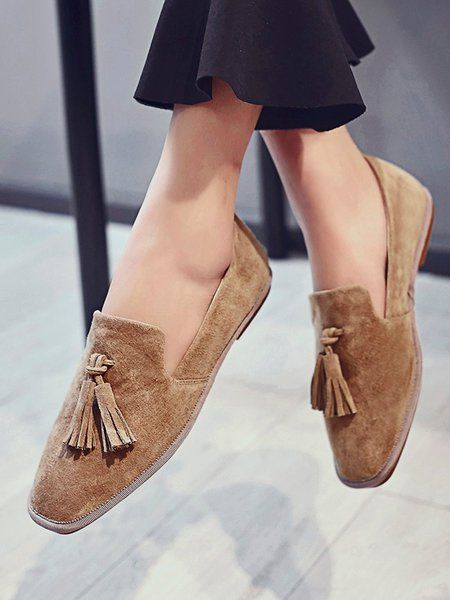 Apricot Pigskin Leather Casual Tassel Loafers