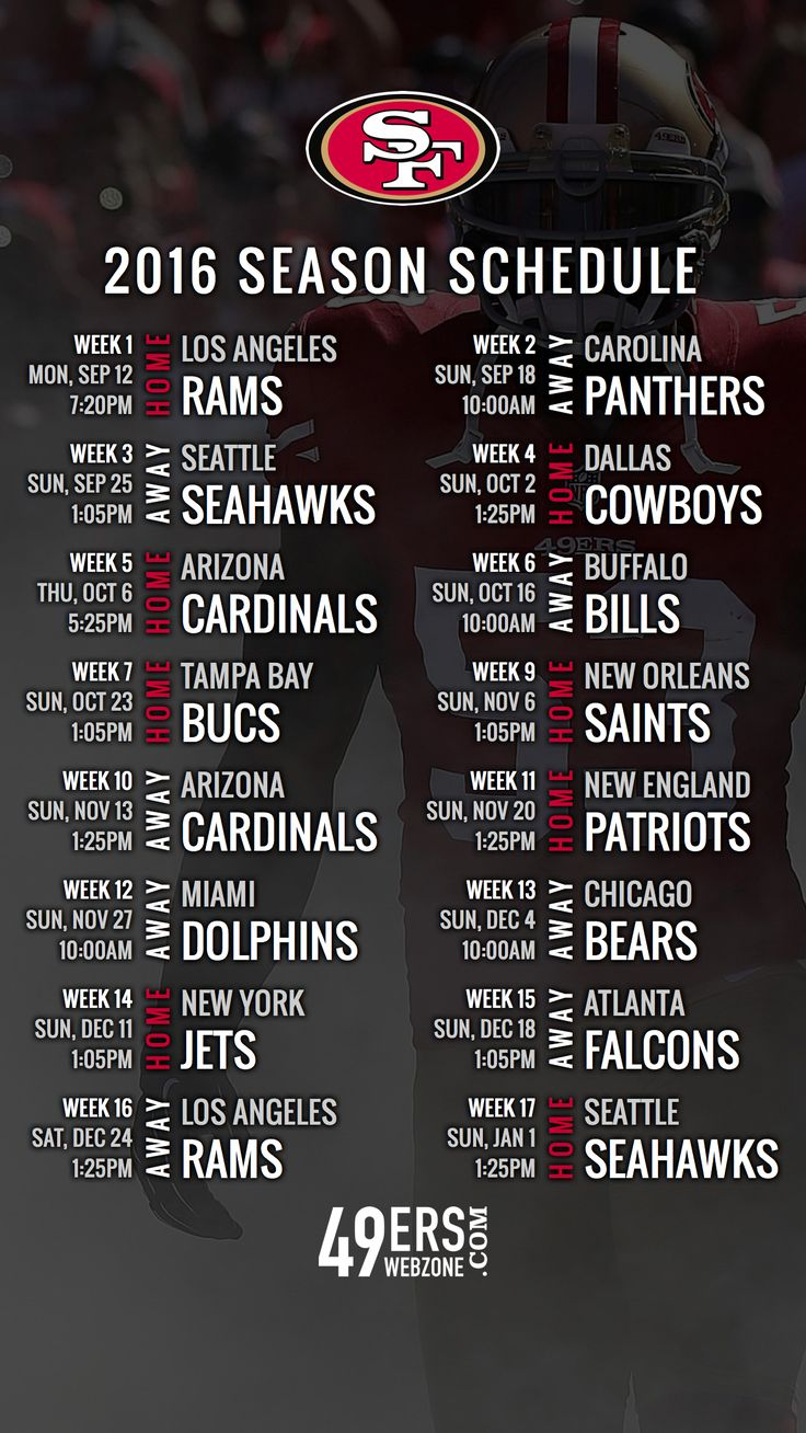 San Francisco 49ers 2016 Schedule Wallpaper for Your Phone