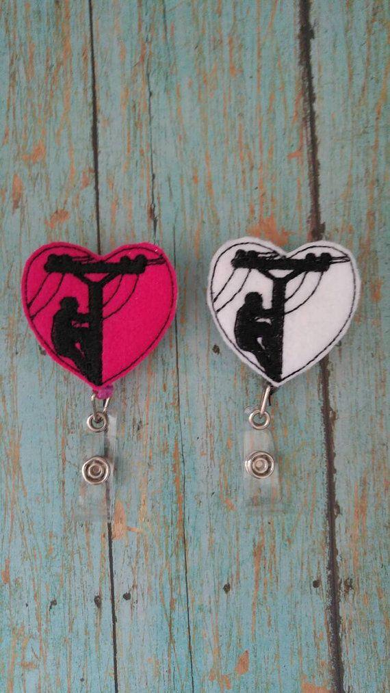 Lineman heart badge reel by CrackerChild on Etsy