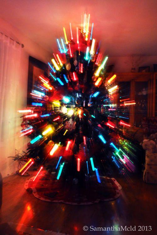 Lightsabers on x-mas tree