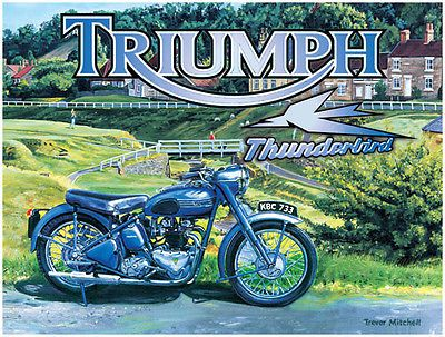 Thunderbird motorcycle, #vintage british #motorbike old bike, #small metal/tin si,  View more on the LINK: http://www.zeppy.io/product/gb/2/121200028575/