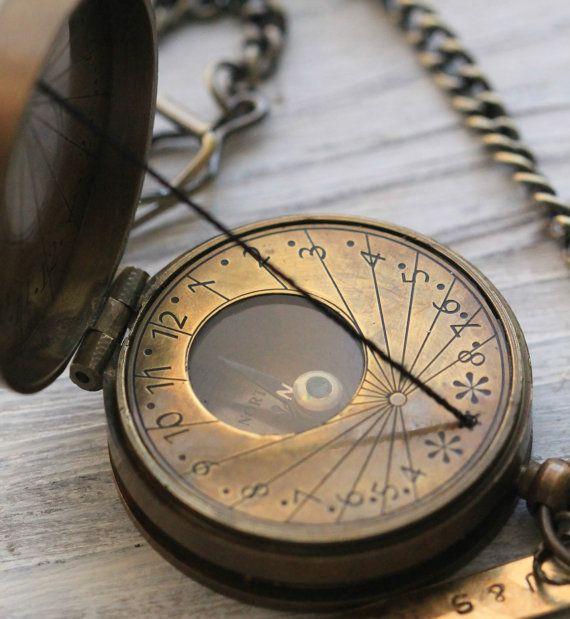 Antique Nautical Brass Pocket String Sundial Compass Necklace For Both Men and Women by CoughingCowNChicken