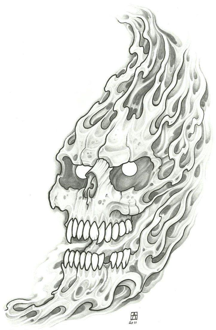 Fi fireman tattoo designs - For Starters Let S Agree Flaming Alien Skull Tattoo Design
