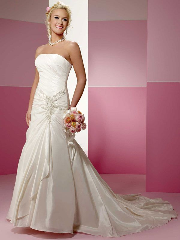 A-line taffeta sleeveless bridal gown with lace-up back