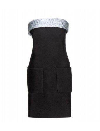 """A chic and simplistic cocktail choice, Balenciaga's strapless silver-trimmed LBD is an innovative design that will never date. We love the oversized pocket detailing. Wear it with polished accessories for a refined evening look."""