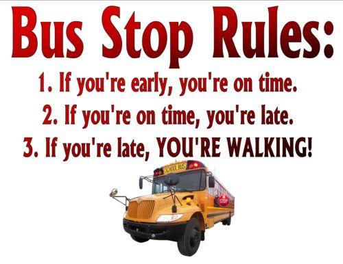 """Bus Stop Rules"" School Bus Driver Shirt"