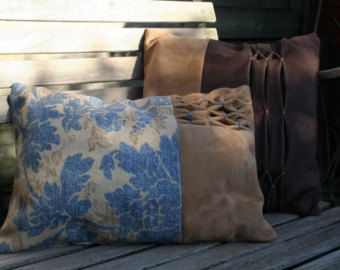 Pillow leather/suede with smocked pattern van byBREUER op Etsy
