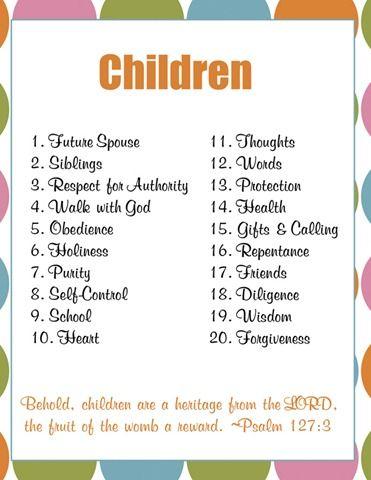 children prayer topics for 20 days