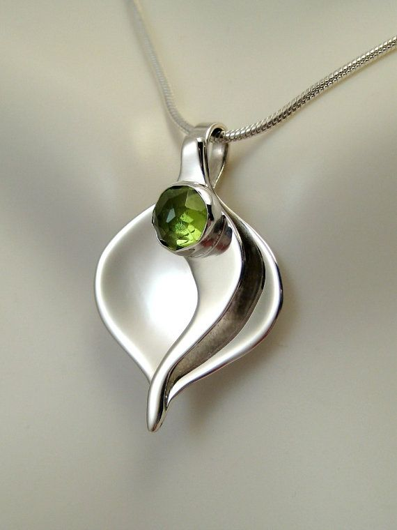 Sterling Silver Peridot Calla Lily Pendant – Peridot Necklace – August Birthstone – Metalsmith Necklace – Sculptural Jewelry ,  suzanne edwards