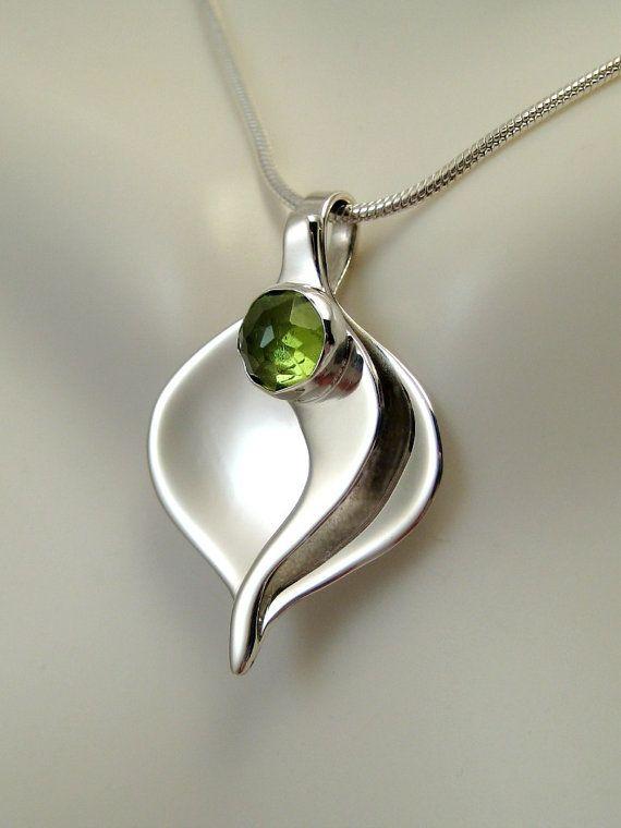 Sterling Silver & Peridot Calla Lily Pendant -Peridot Necklace