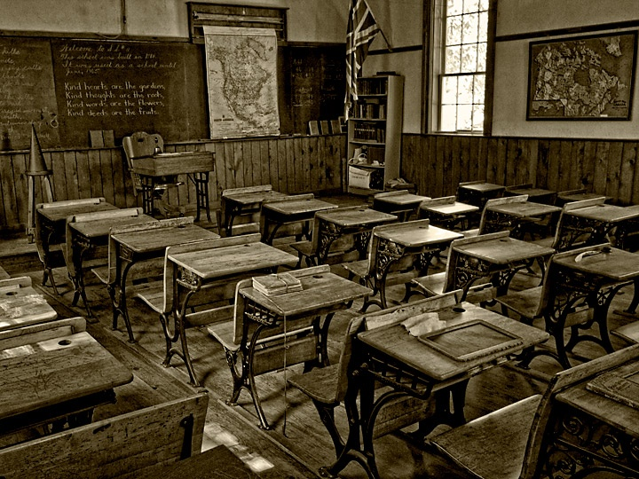 The Interior Of An Old Schoolhouse Schools Pinterest