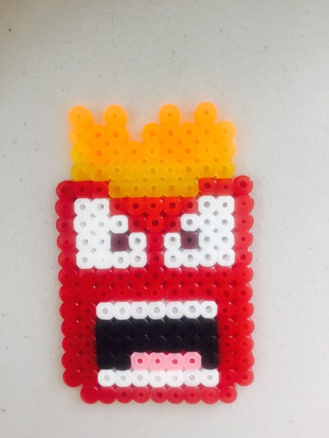 Anger - inside Out perler beads..looks like angry fries.....