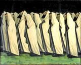 Painting: The Day of Atonement (1919) by Jacob Kramer depicts a gathering of Jewish men coming together for prayer to take part in Yom Kippur.  Its central themes are atonement and repentance.  Yom Kippur completes the annual period known in Judaism as the High Holy Days or Days of Awe.