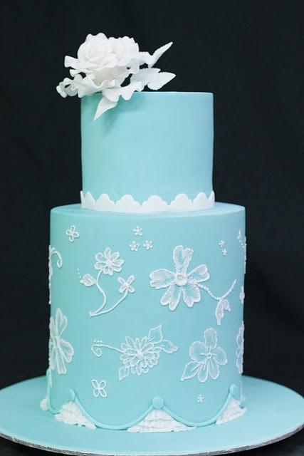 Brush Embroidered on Turquoise Such a pretty color!!! - featured on Hello Naomi's blog, Tuesday, May 3, 2011  planet cake springtime course! - http://hello-naomi.blogspot.co.uk/