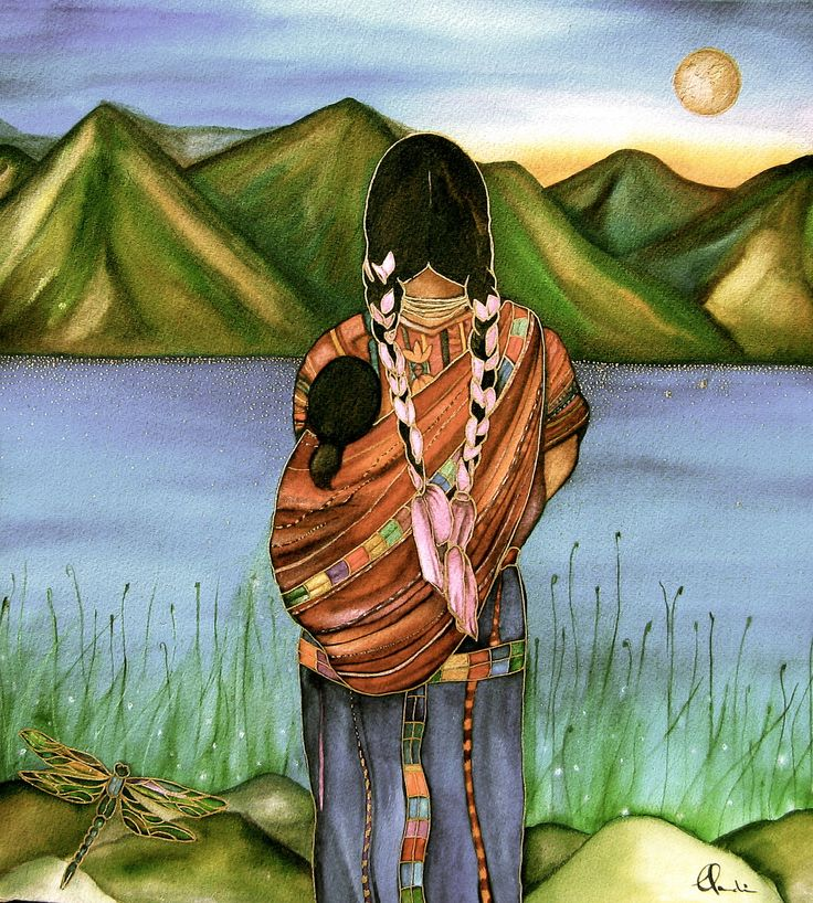Mother and child in guatemala art print watercolor, via Etsy.