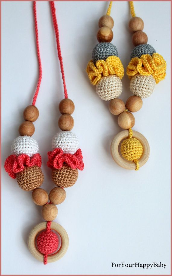 This necklace care of crude organic juniper wood bead crochet cotton yarn. This yarn is so very soft and gentle on your skin and your baby safe.