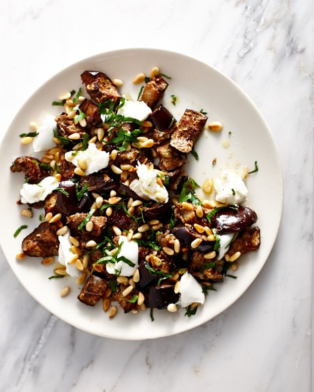 This spiced eggplant and mozzarella salad can be served warm or cold.