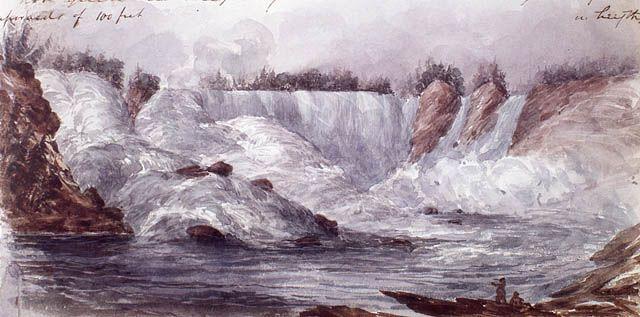 Les chutes de Shawinigan en été, rivière Saint-Maurice, aquarelle par Henry James Warre, 1842. Bibliothèque et Archives Canada, no d'acc 1965-76-54