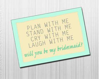 DIY Printable Will You Be My Bridesmaid Card - Bridesmaid Invitation - Bridesmaid Poem - Maid of Honor Card