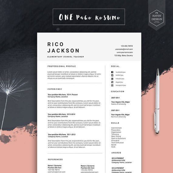 """Resume template for Ms Word, CV template with FREE Cover Letter, Professional cv design, Creative, Simple, Modern, Teacher Resume   """"ONTO"""""""