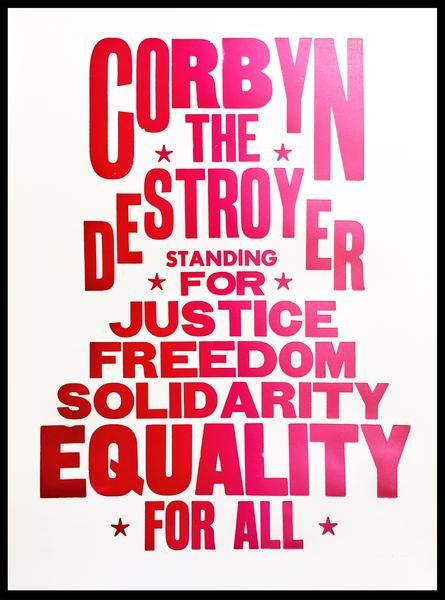 Jeremy Corbyn print. Open edition, two colour letterpress print 180gsm recycled white paper. A3 size: 297mm x 420mm SOLD UNFRAMED ONLY