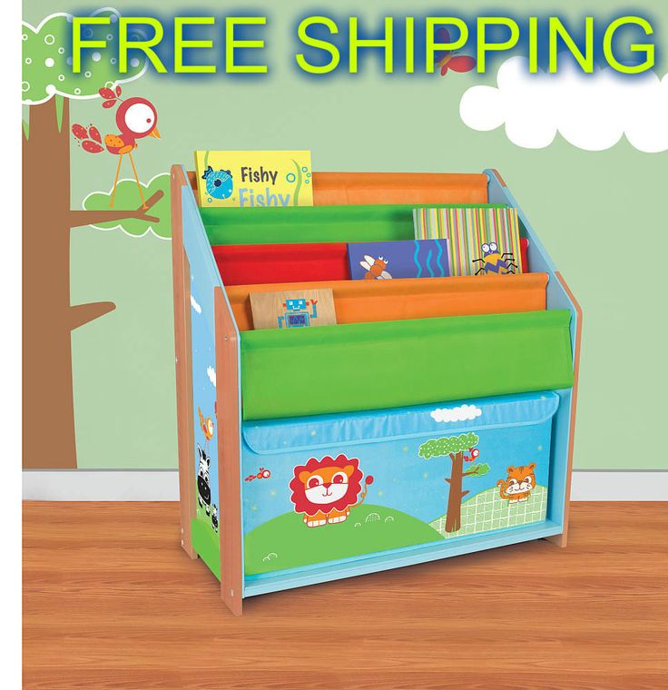 Organizer Storage Kids Shelf Bookcase Book Rack Toy Bin Wood Furniture Decor