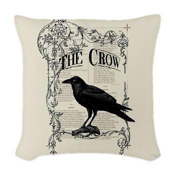Vintage Black Crow Woven Throw Pillow Home Decor Items