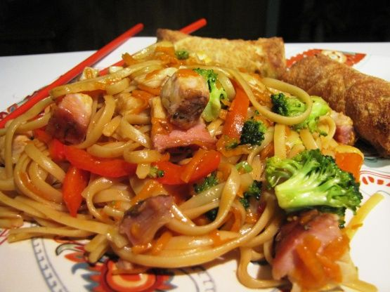 Had some left over pork and was planning on making pork chop suey, but we had rice for the last two nights so I decided to make pork lo mein, but none of the recipes on Zaar really fit the ingredients that I had so I came up with this which is a variation of a couple of recipes I found here.  My daughter thought it was great. Hope you enjoy it.