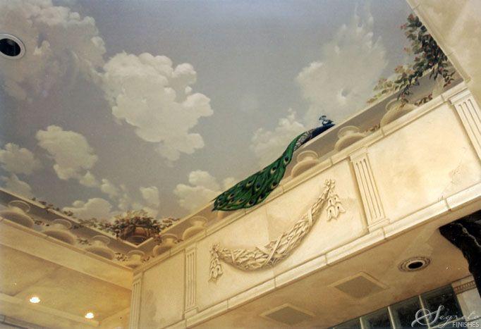 845 best prestigeous classical trompe l 39 oeil murals for Cloud ceiling mural